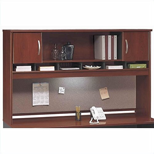 Bush Furniture Series C Standard Separated Wood Office Set with Hutch in Hansen Cherry
