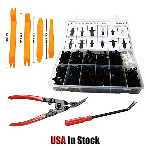 (Machine Supplies 690PCS 12 Sizes Car Push Pin Rivet Trim Clip and Door Removal Pliers Tool)