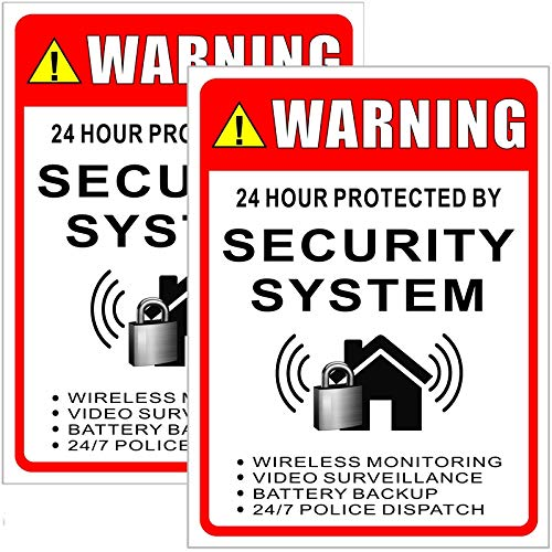 """Outdoor/Indoor (2 Pack) Large Size 12"""" X 9"""" - 24 Hour Protected by Security System - Security Alarm Caution Warning Sign Vinyl Label Sticker Decal - Back Self Adhesive Vinyl"""