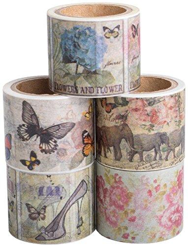 Vintage Washi Tape Set (Japanese Masking Tape) by MIKOKA, 1.2 Inches Wide, 16.4 Feet Long, 5 Rolls - Amity
