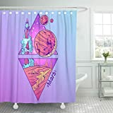 Emvency Shower Curtain Mars Planets and Stars of Solar System Symbols Shower Curtains