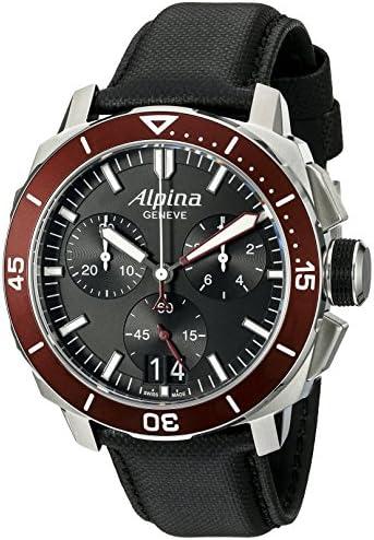 Alpina Men s AL-372LBBRG4V6 Seastrong Diver 300 Chronograph Big Date Analog Display Swiss Quartz Black Watch