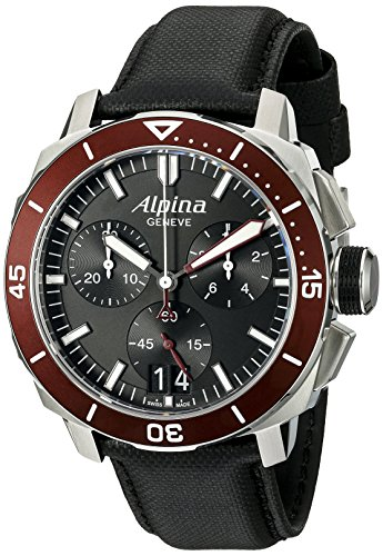 Alpina Men's AL-372LBBRG4V6 Seastrong Diver 300 Chronograph Big Date Analog Display Swiss Quartz Black Watch