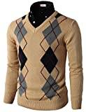 H2H Mens Basic Casual Fashion Slim Fit Pullover Argyle Pattern Long Sleeve Sweater Beige US XL/Asia XXL (CMOSWL013)