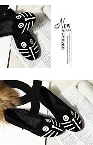 Zapatillas Planas De Mujer Ballet Chica Gato Cara De Perro Sandalia Con Comodidad En El Bajo Talón Resbalón En El Mocasín Gato Y Perro