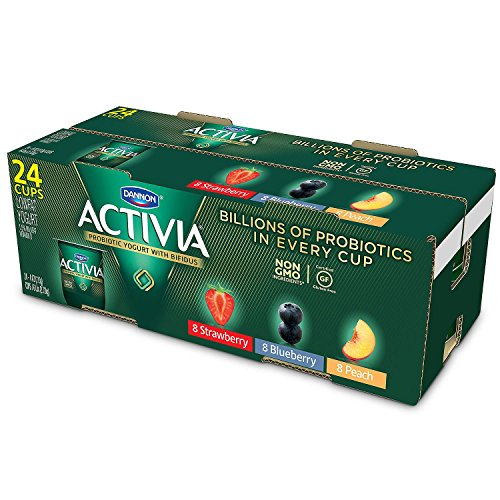 - Activia Probiotic Yogurt Strawberry, Blueberry, Peach Assortment (24 pk., 4 oz.)