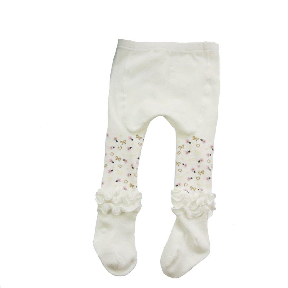 Aiklin Baby Girls' Legging Tights Autumn Winter Stockings (1-2 T, White)