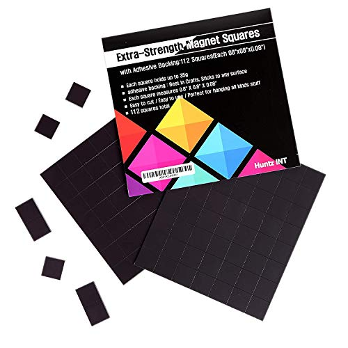 Flexible Magnet Squares with Adhesive Backing:112 Squares(Each 0.8