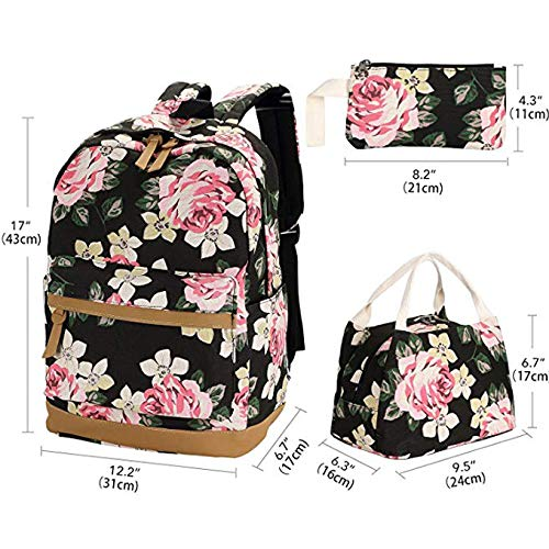 Sqoto School Backpack, Teen Girls Canvas College Bookbag with Lunch Bag Pencil Case Laptop Bag Travel Daypack by Sqoto (Image #2)