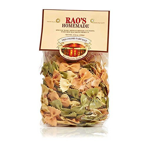 Rao's Specialty Foods, Tre-Colori Farfalle Pasta, 2 Pack, Artisanal Fresh Dried Italian Pasta, Bowtie Shaped Pasta in Three Colors, from Durum Wheat Semolina Flour, Imported from Italy