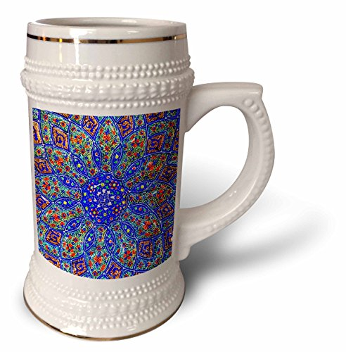 3dRose Danita Delimont - Patterns - Islamic Designs on Blue Pottery, Madaba, Jordan - 22oz Stein Mug (stn_276903_1) by 3dRose