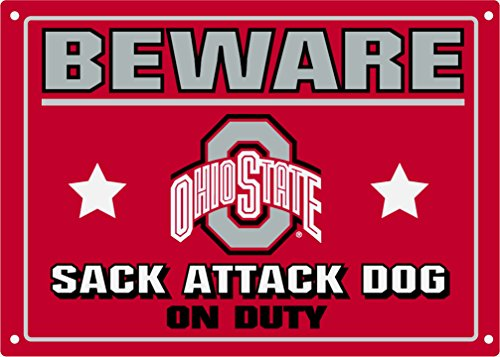 Pets First Collegiate Ohio State Buckeyes Beware of Dog Sign ()