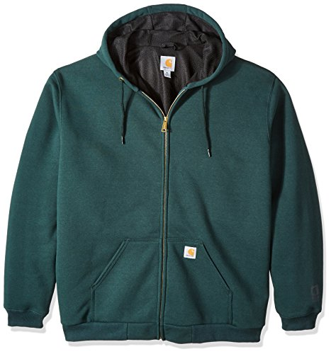 Sweatshirt Thermal Carhartt (Carhartt Men's Big & Tall Rain Defender Rutland Thermal Lined Hooded Zip Front Sweatshirt, Canopy Green, 3X-Large)