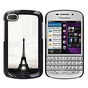 Design for Girls Plastic Cover Case FOR BlackBerry Q10 Architecture Eiffel Tower Sun B&W OBBA