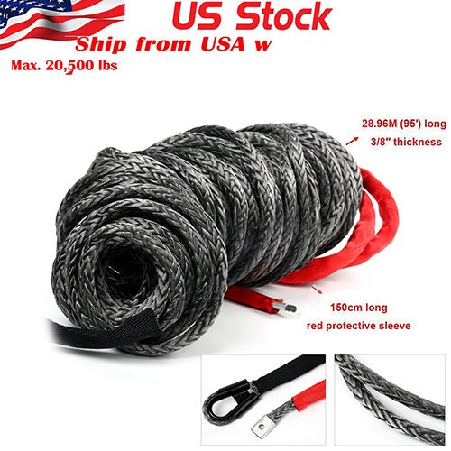 YaeTek 95ft x 3/8 BLACK Synthetic Winch Rope Line Cable 20500LBs w/Protective Sleeve ATV UTV Truck Boat Ramsey (Winch Line Rope Synthetic)