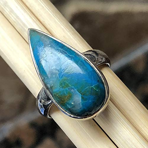Natural Stunning Picture Blue Peruvian Opal 925 Sterling Silver Scenic Ring sz 6.5