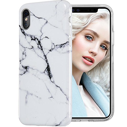 iPhone X case white Slim Soft Flexible TPU Marble Pattern Cover for Apple iPhone X
