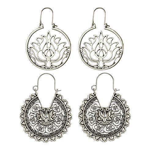 (Vintage Gypsy Hammered Antique Silver Lotus Flower Hoop Earrings Set for Women & Girls)