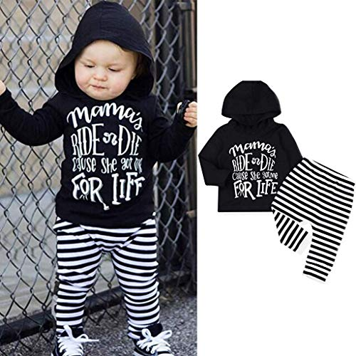 Jshuang ♛Toddler Baby Girls Boys Letter Hooded Tops Stripe Pants Trousers Outfits Set(6M-24)
