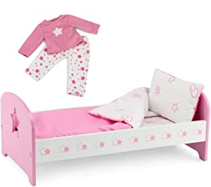 Emily Rose 18 Inch Doll Bed Furniture Doll Bed with Star, Includes Reversible Doll Bedding and Matching Doll PJ Set! | Fits 18