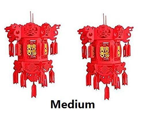 DIY Medium 14.9x19.6 (38x50 cm) Chinese Wedding New Year Party Red Lantern (Golden Double Happiness - Medium) - 2/Pk