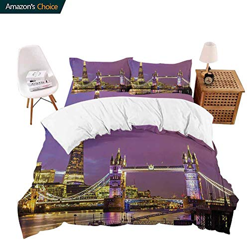 PRUNUSHOME Softest Bedding Tower Bridge in London at Night Historical Cultur Monument Europe British Urban Photo Soft and Comfortable - X-Long Twin
