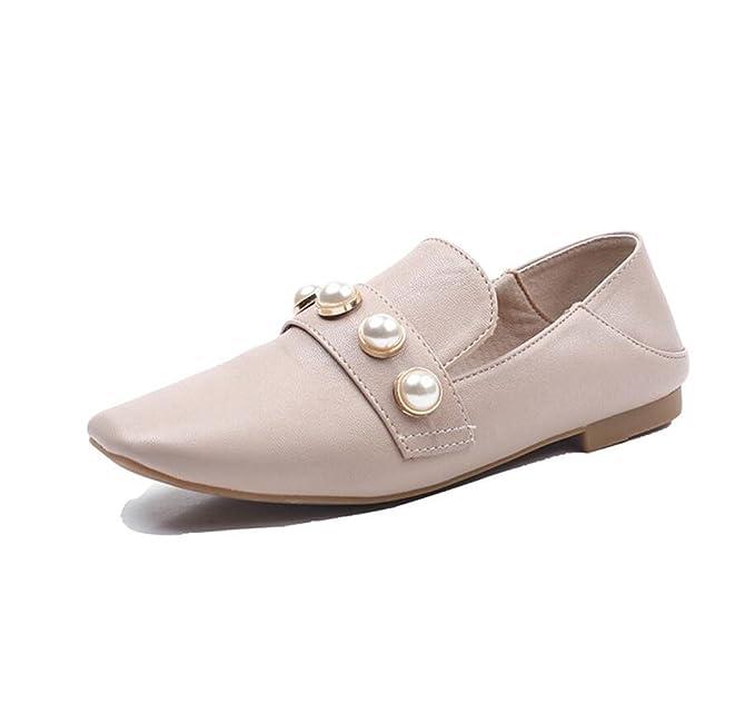 DANDANJIE Zapatos De Mujer Mocasines Casual Perla Plana Transpirable Zapatos Perezosos Para Exteriores Otoño,Beige,39EU: Amazon.es: Ropa y accesorios