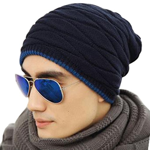 9a9462835 Novawo Men's Knit Thicken and Fleece Lining Beanie Hat Winter ...