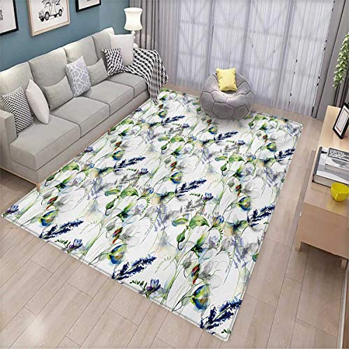 Flower Kids Carpet Playmat Rug Floral Pattern with Sweet Pea Blossoms in Watercolor Paint Effect Spring Theme Door Mats for Inside Non Slip Backing 6'x8' Green White Blue