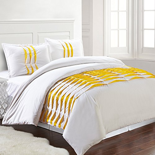 Amrapur Overseas | Isabella 3-Piece 100% Cotton Pinch Pleated Duvet Set (White/Yellow, Queen)