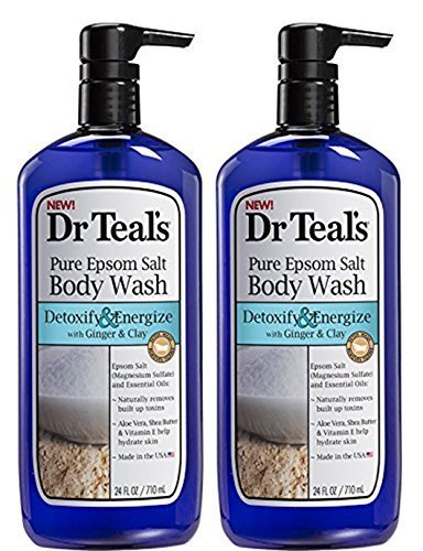 Dr.Teals Pure Epsom Salt Body Wash Detoxify and Energize - Set of 2 with Ginger and (Detox Gel)