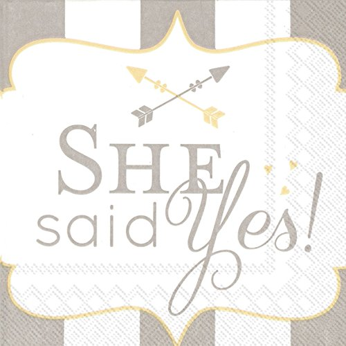 Celebrate the Home Wedding 3-Ply Paper Cocktail Napkins, She Said Yes, 20 (Love Beverage Napkins)