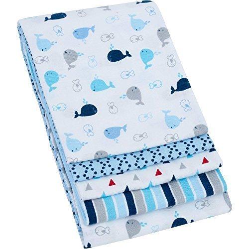 Garanimals 4-Pack Cotton Receiving Blankets, Blue by Mount Vernon Mills