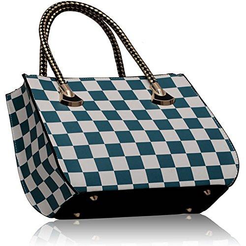 Ladies Designer Faux Sale Teal In New Design Bag 1 Handbag Tote Shoulder White Check Leather Womens qgYXp0x
