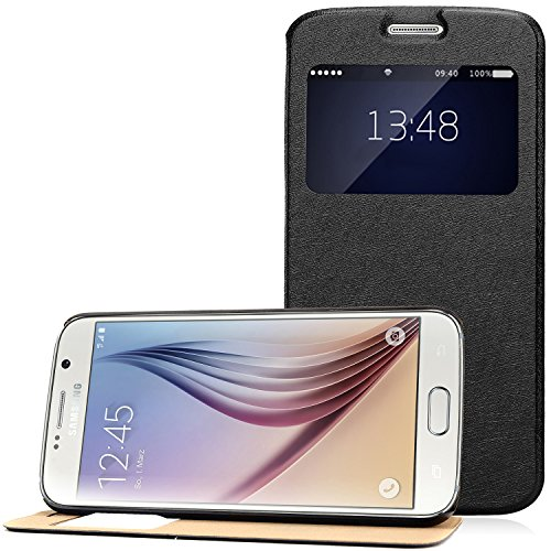 Samsung Galaxy S6 Hülle, Bingsale Schutzhülle Ledertasche Samsung Galaxy S6 Tasche case (schwarz 3, Samsung Galaxy S6)