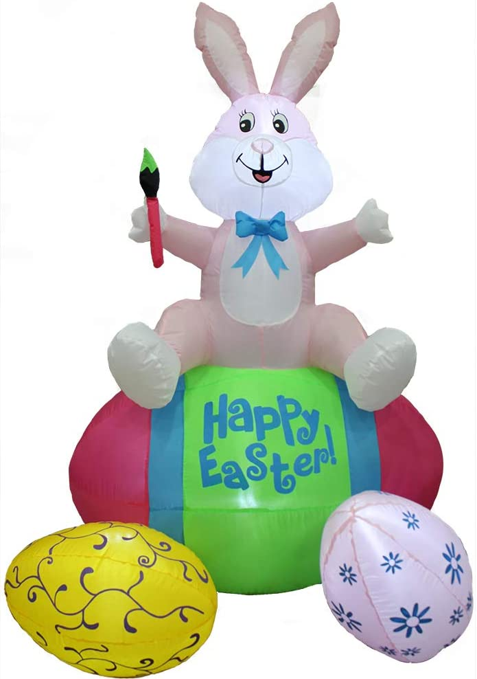 Impact Canopy Inflatable Outdoor Easter Decoration, Easter Bunny and Eggs, 5 Feet Tall