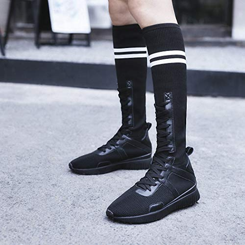 Stivali Lucdespo Scarpe Boots Bottom Bottom Boots Elastic Socks Ladies Socks Knitted Boots nero Large Fashion Girls Casual AwfqA