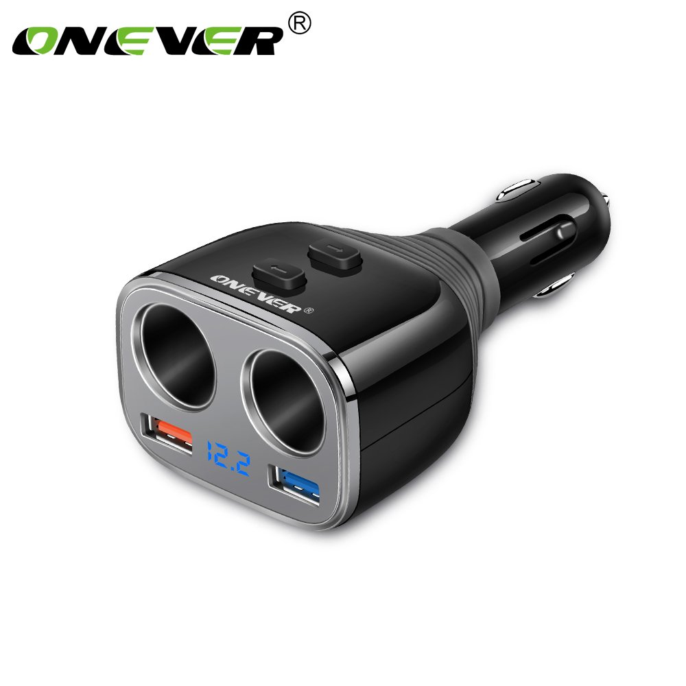 Cigarette Lighter Socket Adapter, ONEVER QC 3.0 Quick Charger 2.4A USB Smart Charger with Independent Switches Voltmeter DC 12-24V