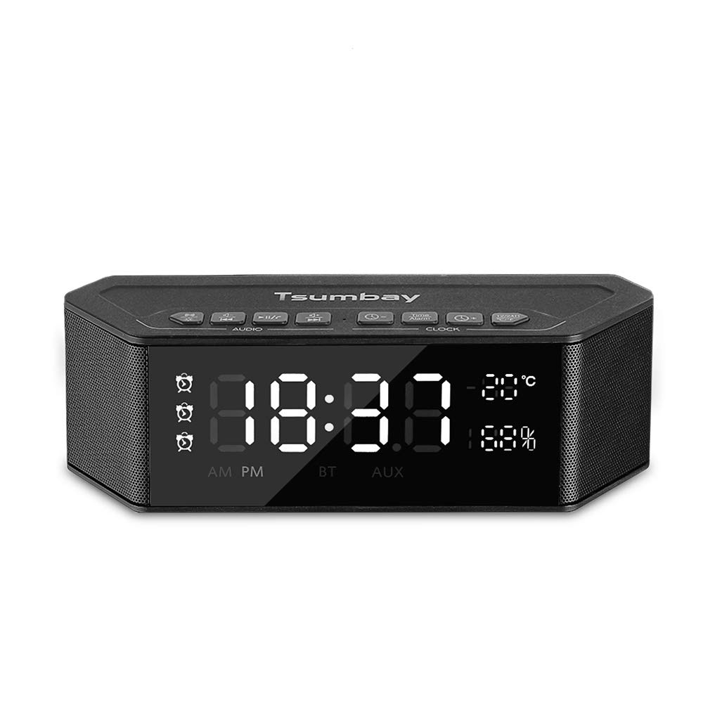 Bedside Alarm Clock Bluetooth Speaker for Bedroom, 3 Alarm Sets with Snooze, 12/24 hr, Temperature (℃/℉), Humidity, LED Dimmer Display, USB Charging, Stereo Wireless Speaker for Office, Home, Travel