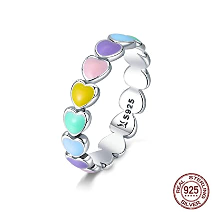 VJUKUBWINE Dreamy Fashion 925 Plata para Mujeres Anillo Sliver Rainbow Ring-Gay & Lesbiana Orgullo