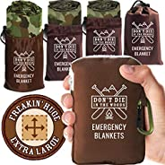 Don't Die In The Woods - Freakin' Huge Emergency Blankets [4-Pack] Extra-Large Thermal Mylar Space Blanket