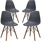 Cheap Poly and Bark Vortex Side Chair Walnut Legs, Grey, Set of 4