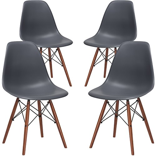 Poly and Bark Vortex Side Chair Walnut Legs, Grey,