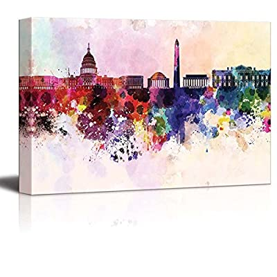 Canvas Prints Wall Art - Washington Dc Skyline in Watercolor Background | Modern Wall Decor/Home Decoration Stretched Gallery Canvas Wrap Giclee Print. Ready to Hang - 24