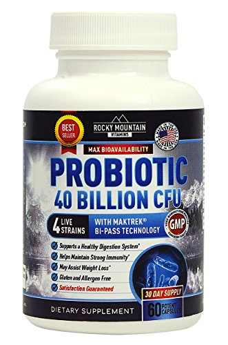 Probiotic 40 Billion CFU Daily Supplement Capsules. Ultra Potency for Guaranteed Results. Aids with IBS, Clears Skin, Strengthens Immune System and Intestinal Flora. Great Booster for Men and Women