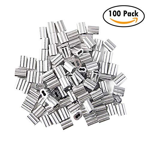 100 Packs Aluminum Wire Rope Crimp Loop Sleeve - Fits 3mm 1/8 in Wire Rope & Steel Cable - Wire Rope Sleeve, Double Barrel Crimp Sleeve, 1/8