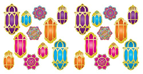 Bollywood Themed Halloween Party (Beistle 53580 Foil Lantern & Mandala Cutouts, 22 Piece, 6.75