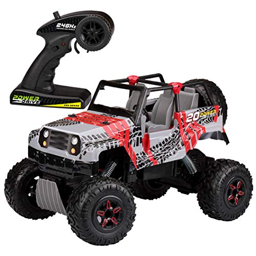 Kid Galaxy 10318 RTR 1/10 Scale 2.4 Ghz/20V Rechargeable Rock Crawler All Terrain Off-Road Remote Control Car, 21 x 11 x 11, Red