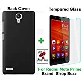 """Shop Buzz ombo of Back Cover + Tempered Glass - Xiaomi Redmi Note Prime 5.5"""" - By Shop Buzz (Black Back Cover and Tempered Glass Screen Protector For Mi Note Prime)"""