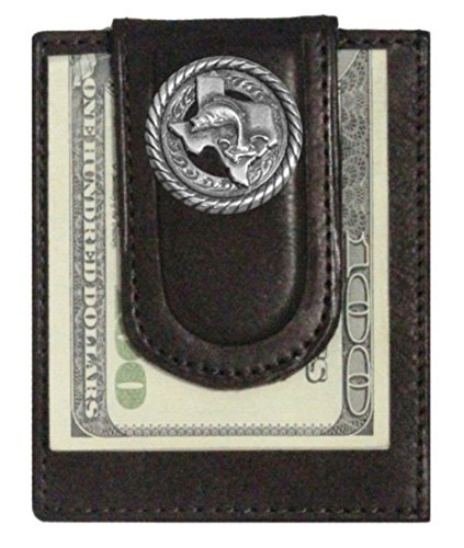 - Custom Texas Bass Fishin Paul and Taylor Money Clip Wallet Brown